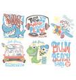 kids t-shirt designs set cartoon