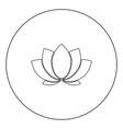 lotus icon black color in circle vector image vector image
