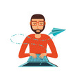 man with laptop computer and airplane paper vector image vector image