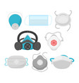 medical mask and respirator set isolated vector image vector image