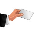 Mens hand with card vector image vector image