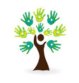 nature tree and hands concept vector image vector image