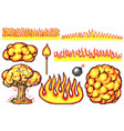 nuclear explosion pixel art 8 bit fire objects vector image vector image