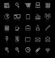 office line icon reflect on black background vector image vector image