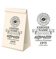 paper packaging with label for coffee beans
