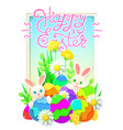 papercut happy easter card with rabbit eggs vector image