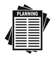 planning paper icon simple style vector image