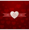 Realistic white Heart Valentines Day Emblem vector image vector image
