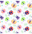 Seamless pattern ladybug vector image