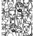 seamless pattern male doodle hand drawn vector image vector image