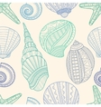 Seamless pattern with marine seashells and vector image vector image