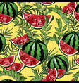 seamless pattern with watermelons and leafs vector image