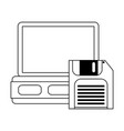 server and diskette technology in black and white vector image