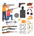 shooting club and range weapons and accessories vector image vector image