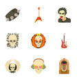 skull icons set cartoon style vector image vector image