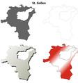 St Gallen blank detailed outline map set vector image vector image