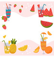 summer fruit cocktails strawberry watermelon vector image