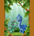 the little dinosaurs happy living in the jungle vector image vector image