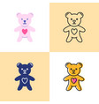 toy bear with heart icon set in flat and line vector image vector image