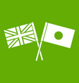 uk and japan flags crossed icon green vector image vector image