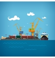 Unloading Coal from the Dry Cargo Ship vector image vector image
