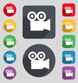 video camera icon sign A set of 12 colored buttons vector image vector image