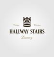 vintage hallway stairs stairway king crown logo vector image vector image
