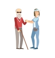 Volunteer Helping A Blind Old Man vector image vector image