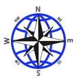 Wind rose against of the globe vector image