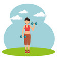 athlete female working out character vector image