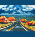 autumn road through the valley vector image