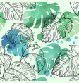 abstract watercolor seamless leaves pattern vector image