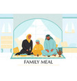 arabs family meal composition vector image
