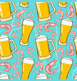 Beer and shrimps seamless pattern
