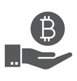 bitcoin on hand glyph icon finance and money vector image vector image