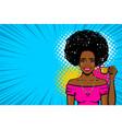 black afro woman pop art drink tea vector image vector image