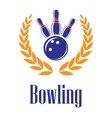 Bowling elements in laurel wreath vector image vector image
