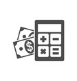 calculator with money icon vector image vector image