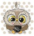 cartoon owl with black cup coffee vector image