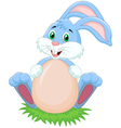 Cartoon rabbit with egg vector image vector image