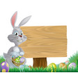 chocolate eggs and easter bunny sign vector image vector image