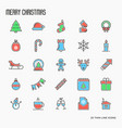 christmas decoration thin line icons set vector image vector image
