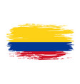 colombian flag brush grunge background vector image vector image