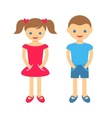 Cute boy and girl vector image