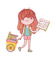 cute girl hand cart with books cartoon isolated vector image