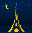 Cutout paper night Eiffel tower vector image