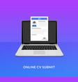 cv laptop send icon open application desk cv form vector image vector image