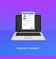 cv laptop send icon open application desk form vector image