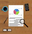 financial file on wood desk for presentation vector image vector image