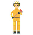 fire fighter on duty vector image